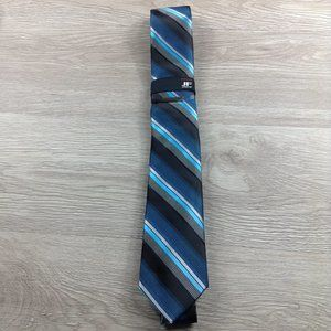 JF J. Ferrar Blue Striped Narrow Tie
